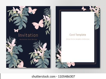 Botanical wedding invitation card template design, bouquets of pink Curcuma alismatifolia flowers with leaves and butterflies on dark blue background, vintage style