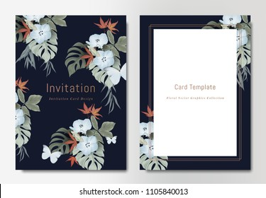 Botanical wedding invitation card template design, bouquets of blue Nemophila flowers with leaves and butterflies on dark blue background, vintage style