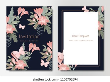 Botanical wedding invitation card template design, bouquets of red freesia flowers with leaves and butterflies on dark blue background, vintage style
