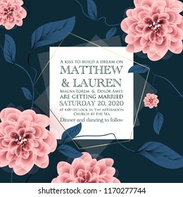 Botanical wedding invitation card template design, pink peony flowers and leaves withgold  frame on pink background, vintage style