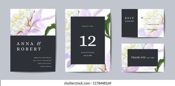 Botanical wedding invitation card Template Design, peony flowers in modern, Collection of Save the date, RSVP in vector