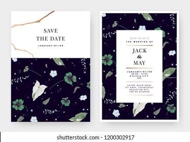 Botanical wedding invitation card template design, Oxalis tetraphylla or lucky clover, Syngonium podophyllum albo-variegatum, Asclepiadaceae and Nemophila flowers on dark purple, pastel vintage theme