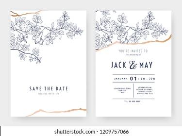 Botanical wedding invitation card template design, bower vine line art ink drawing on white