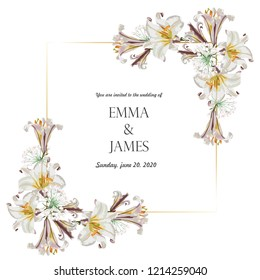Botanical wedding invitation card template design, white lily flowers with golden frame on white background, vintage style.