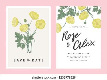 Botanical wedding invitation card template design, yellow creeping buttercup flowers bouquet, pastel vintage theme