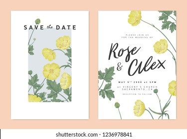 Botanical wedding invitation card template design, yellow creeping buttercup flowers in light blue rectangle on white background, pastel vintage theme