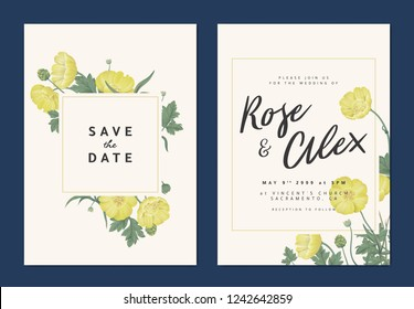 Botanical wedding invitation card template design, yellow creeping buttercup flowers with square frame on light orange background, pastel vintage theme