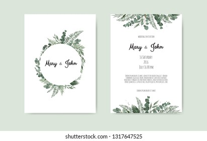 Botanical wedding invitation card template design, white and pink flowers on white background.
