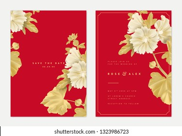 Botanical wedding invitation card template design, golden Alcea or hollyhocks flowers and leaves on red
