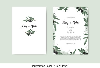 Botanical wedding invitation card template design with Olive branch.