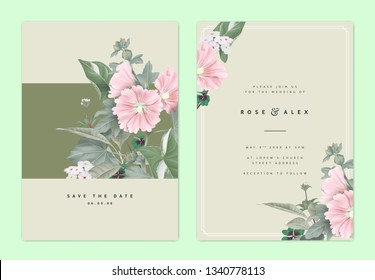 Botanical wedding invitation card template design, pink Alcea or hollyhocks flowers and leaves on light brown, natural organic theme