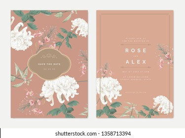 Botanical wedding invitation card template design, white Chrysanthemum morifolium, peacock flowers with leaves on brown, pastel vintage theme