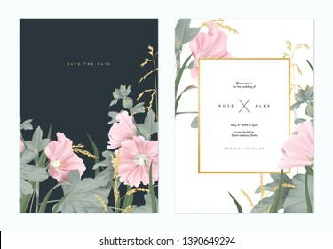 Botanical wedding invitation card template design, pink Alcea or hollyhocks flowers and golden grass flowers on dark grey and white