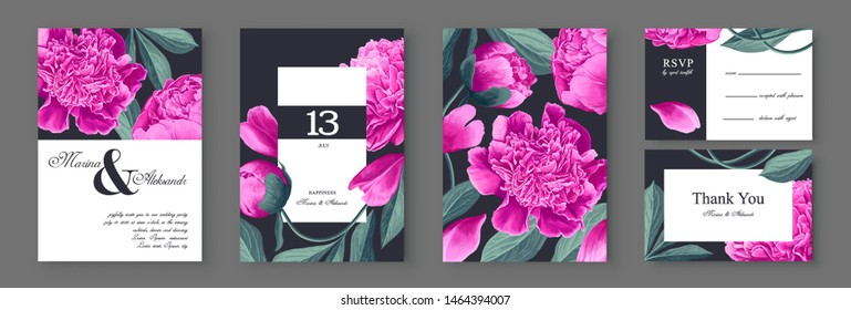 Botanical wedding invitation card. Template design with pink peonies  flowers and leaves. Modern, realistic style, hand drawn illustration. Collection of Save the Date and RSVP in vector EPS format.