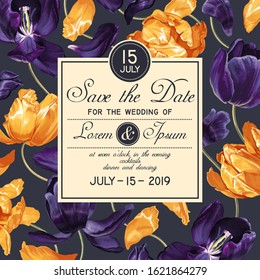 Botanical wedding invitation card. Template design with yellow and dark blue tulips flowers. Modern, realistic style, hand drawn floral elements for Save the Date card template. Vector EPS format.