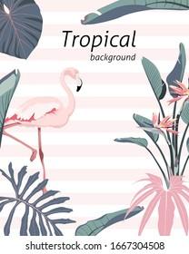 Botanical wedding invitation card template, banner design,  leaves and flamingo bird on light striped background, minimalist frame or birthday invitation.