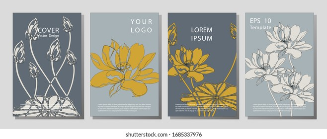 Botanical wedding invitation card template design, lotus flowers and leaves on light  background, minimalist vintage style. Wellness brochure template - for relaxation, healthcare, medical topics.