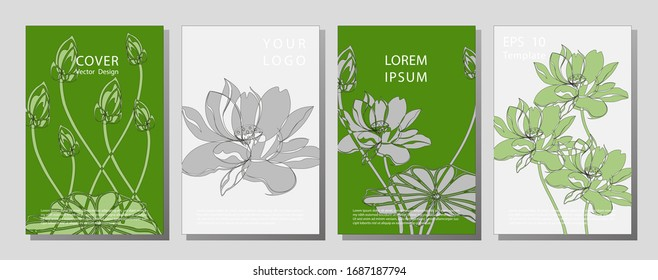 Botanical wedding invitation card template design, lotus flowers and leaves on light  background, minimalist vintage style. flowers lotus pattern, book background.
