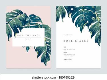 Botanical wedding invitation card template design, hand drawn Split-leaf Philodendron leaves