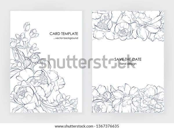 Botanical wedding invitation card template design, climbing peony flowers line art ink drawing on white. Pion flower.