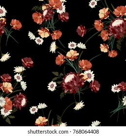Botanical and wild flowers with leaves pattern on a black background.