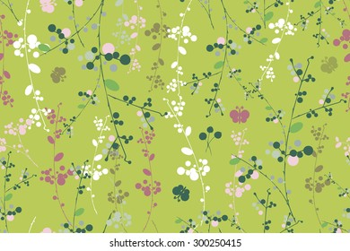 Botanical yellow green garland vector seamless pattern