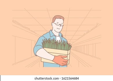 Botanics, plant growing, agriculture, work concept. Young botanist work in greenhouse, does plant growing. Agriculture is linked to botanics. Plant growing is important for humanity Simple flat vector