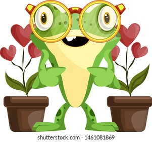Botanist frog taking care of heart-shaped flowers, illustration, vector on white background.