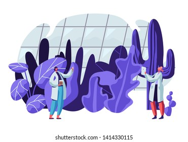Botanist Scientists in Greenhouse with Gadgets and Test Tubes Learning Exotic and Rare Plants Species. Agriculture, Farming Industry, Botany Science Investigations. Cartoon Flat Vector Illustration