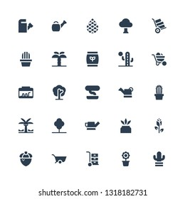 botany icon set. Collection of 25 filled botany icons included Cactus, Flower pot, Wheelbarrow, Acorn, Rose, Watering can, Tree, Palm tree, Bonsai, Terrarium, Fertilizer, Palm