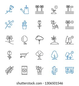 botany icons set. Collection of botany with terrarium, cactus, birch, fertilizer, branch, tree, wheelbarrow, rose, trees, palm tree, sprout. Editable and scalable botany icons.