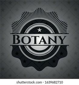 Botany realistic black emblem. Vector Illustration. Detailed.