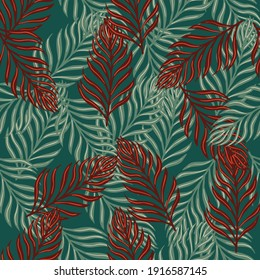 Botany wildlife seamless pattern with abstract random fern shapes print. Green and red colors palette. Stock illustration. Vector design for textile, fabric, giftwrap, wallpapers.