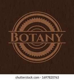 Botany wooden emblem. Vector Illustration.