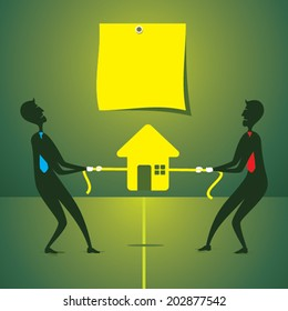 both men try pull home own side or purchase concept vector