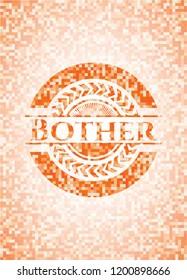 Bother abstract emblem, orange mosaic background