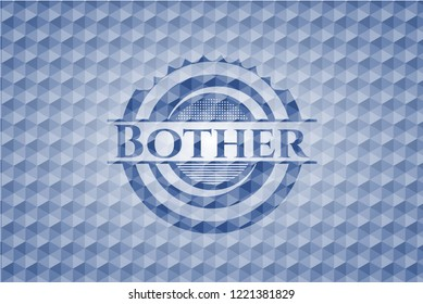 Bother blue polygonal badge.