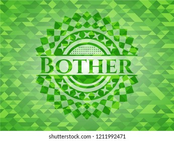 Bother green emblem with mosaic ecological style background