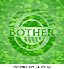 Bother green emblem with triangle mosaic background