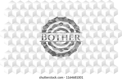 Bother grey emblem with cube white background