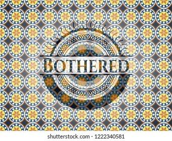 Bothered arabesque style badge. arabic decoration.