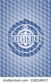 Bothered blue emblem with geometric pattern background.