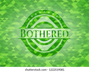 Bothered green emblem with mosaic background