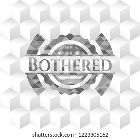 Bothered grey emblem. Vintage with geometric cube white background