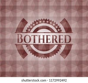 Bothered red emblem with geometric pattern. Seamless.