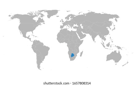 Botswana highlighted blue on world map. African country. Perfect for business concepts, backgrounds, backdrop, poster, chart, banner, label, sticker and wallpapers.