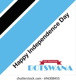 Botswana Independence Day. 30 September. Waving flag. Vector illustration.