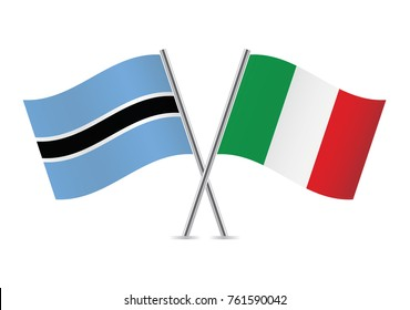 Botswana and Italy flags.Vector illustration.