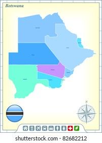 Botswana Map with Flag Buttons and Assistance & Activates Icons Original Illustration