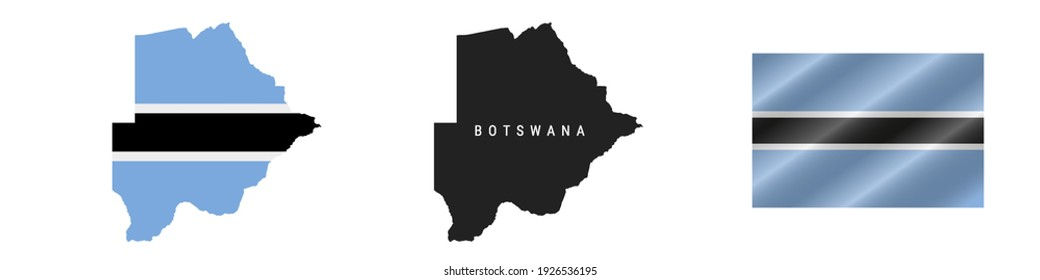 Botswana. Map with masked flag. Detailed silhouette. Waving flag. Vector illustration isolated on white.